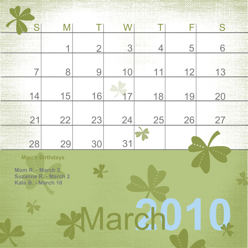 Calendar sample dates page watermark