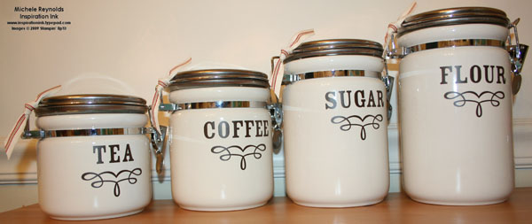 Dry goods chocolate canisters watermark