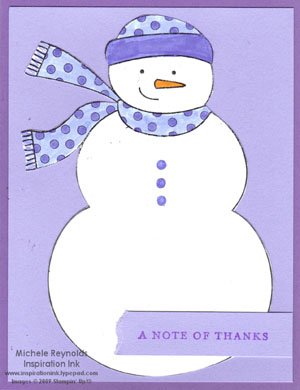 Simple seasonal thanks amethyst snowman watermark