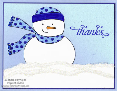 Simple seasonal thanks blue snowman watermark