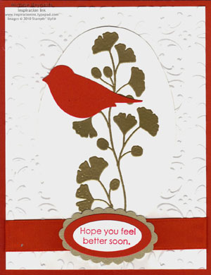 Kind & caring thoughts red bird watermark