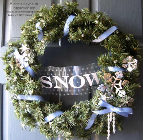Holiday mix white snow wreath watermark