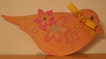 On board bird book flowered bird watermark