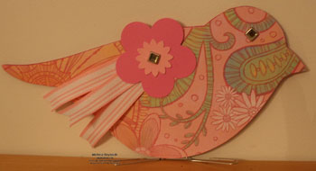 On board bird book pink flower bird watermark