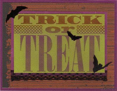 Trick or treat letterpress plate pastel watermark