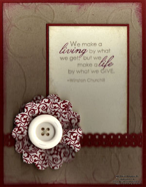 Occasional quotes sewn flower watermark