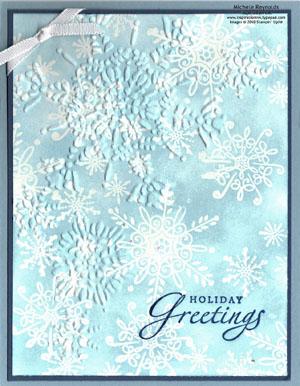 Serene snowflakes double embossed snowflakes watermark