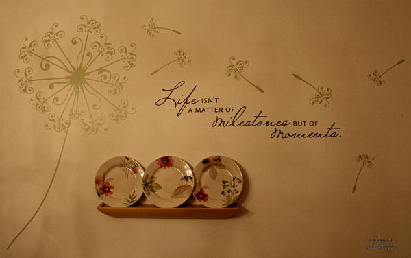 Dandelion flurry dining room wall watermark