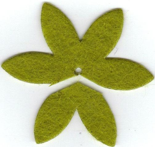 Leaves from felt flower