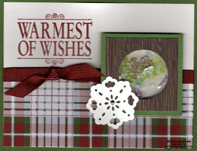 Christmas lodge bird shaker card watermark