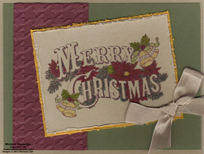 Christmas postcard tilted bow watermark