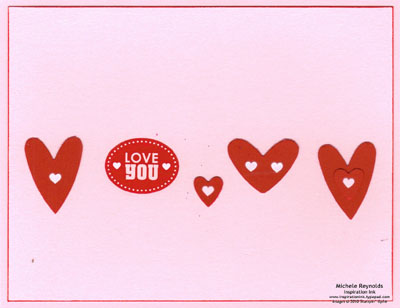 Love impressions staggered hearts watermark