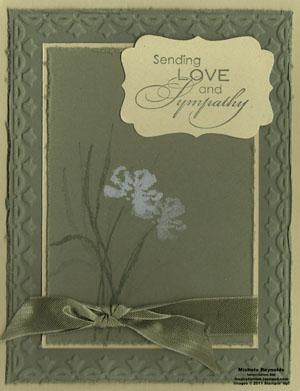 Love & sympathy framed white flower watermark