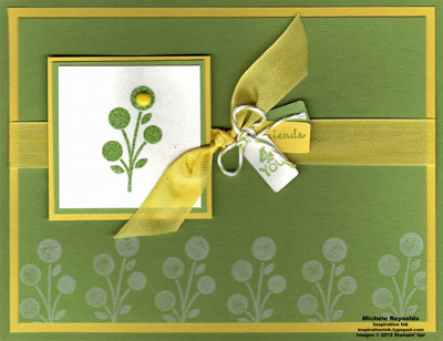Bright blossoms wasabi embossed watermark