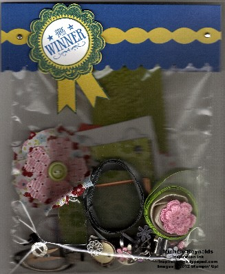 Blue ribbon winner embellishments bag watermark