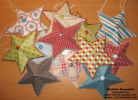 Festival of prints paper stack barn star ornaments watermark
