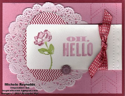 Oh hello doily framed flower tag watermark