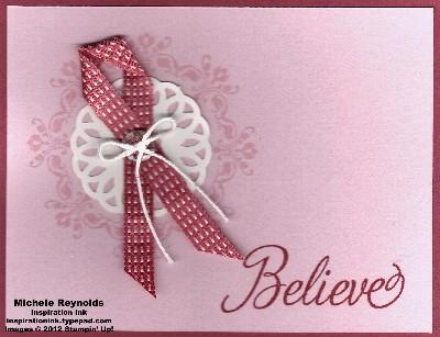 Snowflake soiree pink ribbon belief watermark
