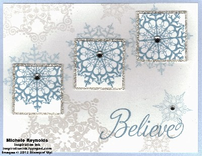 Snowflake soiree shimmery snowflake squares watermark