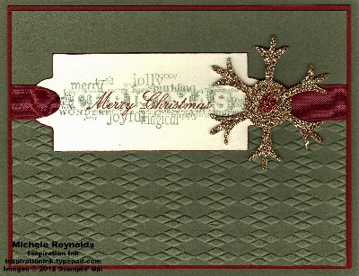 Seasonal sayings label and snowflake watermark