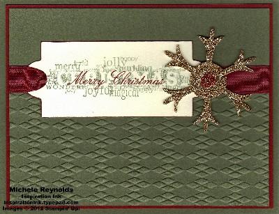 Seasonal sayings label and snowflake watermark
