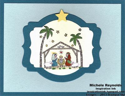 Best of christmas deco label manger scene watermark