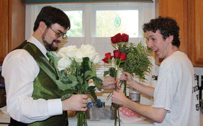 Brett and pat create bouquet