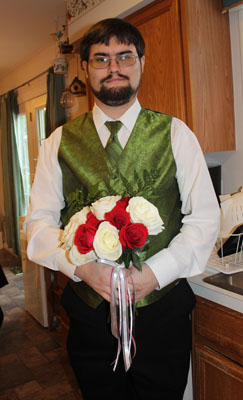 Brett with completed bouquet