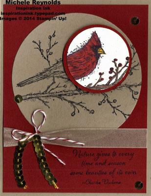 Beauty of the season cardinal spotlight circles watermark