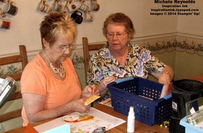 Joan gets help stamping from pat h watermark