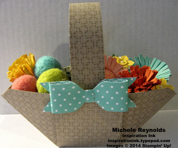 Easter basket with flowers and yarn eggs watermark