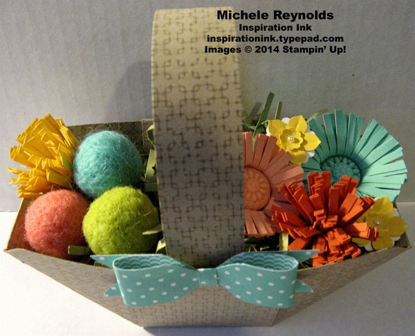 Easter basket with flowers and yarn balls watermark