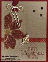Joyful christmas poinsettia tag peek