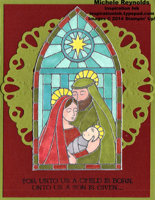 Gentle peace stained glass on doily watermark