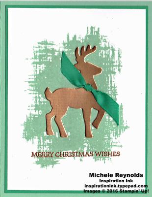 Santa's sleigh simple copper reindeer watermark