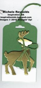 Santa's sleigh golden reindeer tag watermark