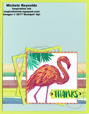 Fabulous flamingo striped and squared watermark