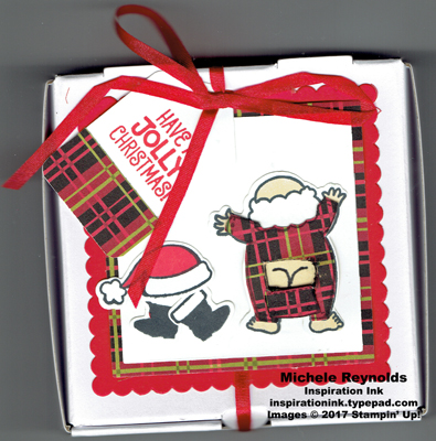 Santa's suit plaid underwear pizza box watermark