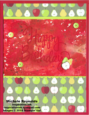 Stylized birthday brusho apples and pears watermark