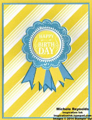 Blue ribbon yellow stripes and blue ribbon watermark