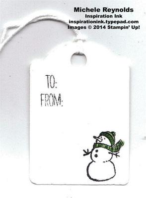 White christmas snowman tag watermark