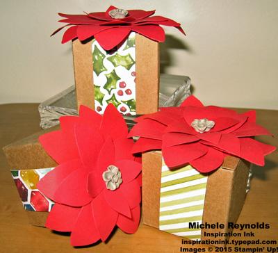 Festive flower builder punch tiny treat boxes