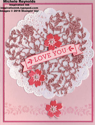 Bloomin love doily flower heart watermark