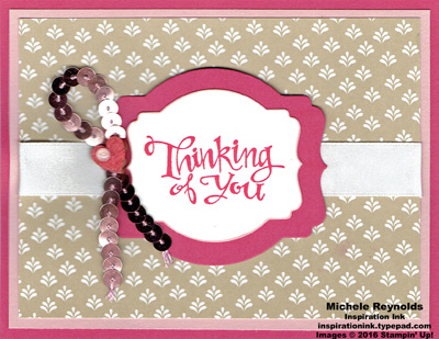 Sassy salutations pink sequin ribbon thoughts watermark