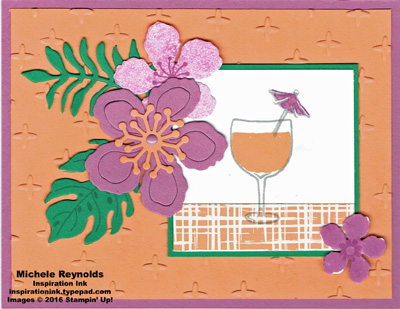 Botanical blooms tropical flowers drink watermark