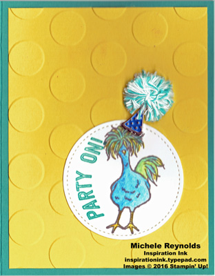 Hey chick pom pom party hat chick watermark
