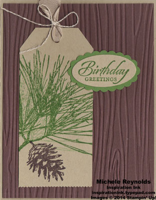 Ornamental pine tag birthday greetings watermark