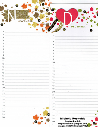Perpetual birthday calendar november december watermark