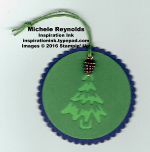 Merriest wishes pinecone tree tag watermark