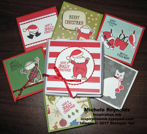 Santa's suit note card set with box